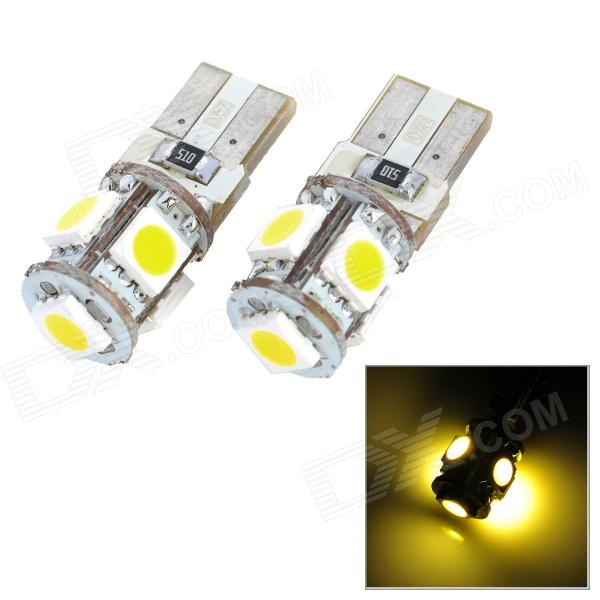 T10 0.9W 115lm 5-SMD 5050 LED Warm White Light Car Clearance Lamp (2 PCS / 12V) t10 1 8w 144lm 9 smd 5050 led white light car clearance lamp