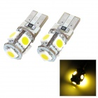 T10 0.9W 115lm 5-SMD 5050 LED Warm White Light Car Clearance Lamp (2 PCS / 12V)