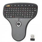 N5901 Mini 1000DPI 70-Key Handheld Wireless Keyboard w/ Trackball Mouse - Black (2 x LR03)