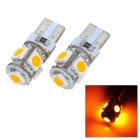 T10 0.9W 65lm 5-SMD 5050 LED Yellow Light Car Decoration Lamp (2 PCS / 12V)