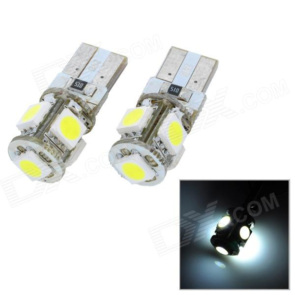 T10 0.9W 115lm 5-SMD 5050 LED White Light Car Clearance Lamp (2 PCS / 12V) carprie super drop ship new 2 x canbus error free white t10 5 smd 5050 w5w 194 16 interior led bulbs mar713