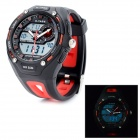Waterproof Sports Dual Time Wrist Watch w/ Alarm / Stop Watch - Black + Red (1 x CR2035)