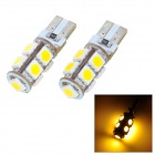 T10 1.62W 207lm 9-SMD 5050 LED Warm White Light Car Clearance Lamp (2 PCS / 12V)