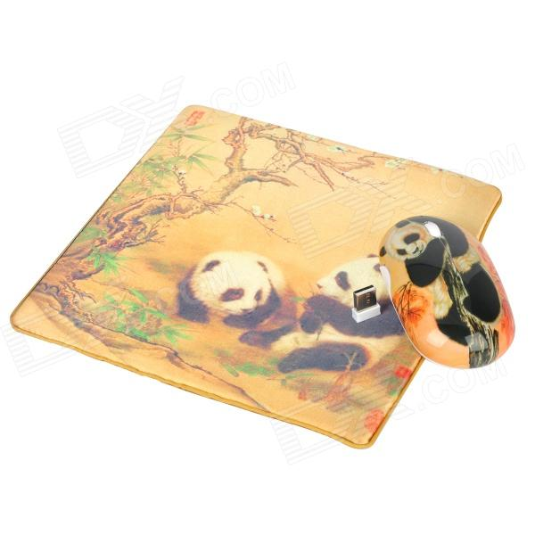 Elegant Panda Style Wireless Mouse + Real Silk Fabric Mouse Pad Set - Golden + Black (1 x AA) Norwalk Prokupka products