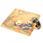 Elegant Panda Style Wireless Mouse + Real Silk Fabric Mouse Pad Set - Golden + Black (1 x AA)
