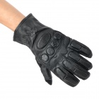 Tactical Full Finger Gloves with Protective Rubber Pads - Black (Pair / Size XL)