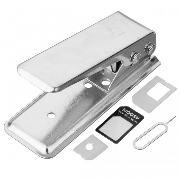 silver nano sim card cutter with 3 adapter for iphone 5. Black Bedroom Furniture Sets. Home Design Ideas
