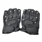 Tactical Series Half-Finger Gloves with Studs - Black (Pair / Size M)