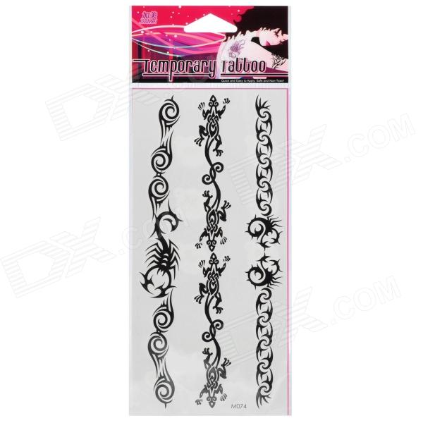 Fashion Lizard + Scorpion Pattern Tattoo Paper Stickers - Black (10 PCS)