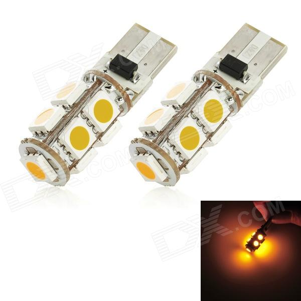 T10 1.62W 117lm 585nm 9-SMD 5050 LED Yellow Light Car Clearance Lamp (12V / 2 PCS) t10 1 8w 144lm 9 smd 5050 led white light car clearance lamp