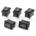CANAL MR-3-203 3-Pin Rocker Boat Switch - Black (5 PCS)