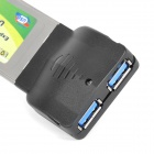 Double 2 USB 3.0 34mm Express Card Adapter for Laptop Notebook - Black + Silver