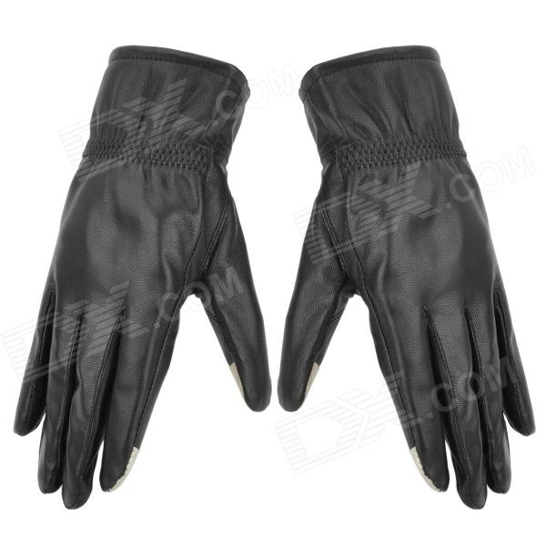 Lady's Sheep Leather Full Fingers Touch Screen Gloves - Black (Size L)