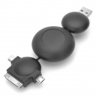 Retractable 3-in-1 USB Data / Charging Cable for Mini USB + Micro USB + iPhone/iPod - Black