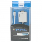 Micro USB to VGA + Audio MHL Adapter Cable for Samsung / HTC - White