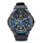 Sports Waterproof Dual Time Display Wrist Watch w/ Alarm / Stopwatch - Blue