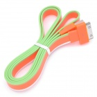 Flat USB Data / Charging Cable for iPhone / iPad / iPod - White + Orange + Green