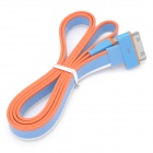 Flat USB Data / Charging Cable for iPhone / iPad / iPod - White + Orange + Blue