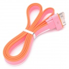 Flat USB Data / Charging Cable for iPhone / iPad / iPod - Pink + White + Orange