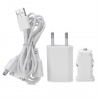 White - 3-in-1 AC / Car Charger w / USB-Kabel für iPhone / iPad / GPS Navigator / Cell Phones Set