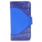 Alligator Pattern Protective PU Leather Case for Iphone 5 - Blue