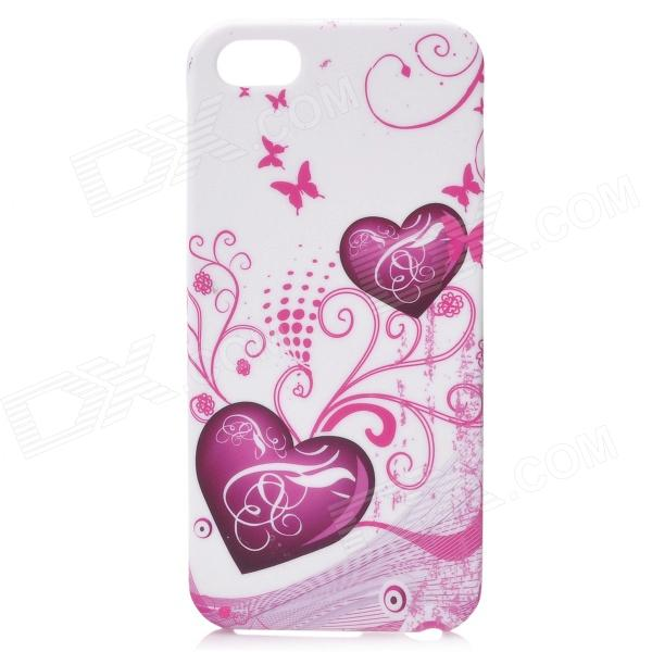 Love Heart Butterfly Flower Style Protective Silicone Case w/ Screen Film for Iphone 5 - Deep Pink butterfly bling diamond case