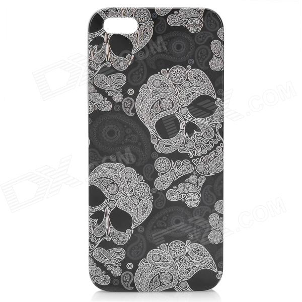 Skull Pattern Protective Plastic Hard Case w/ Screen Protector for Iphone 5 - Black + White london pattern protective plastic back case w front screen protector for iphone 5 grey red