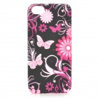 Butterfly Flower Protective Silicone Case w/ Screen Protector for Iphone 5 - Deep Pink + Black