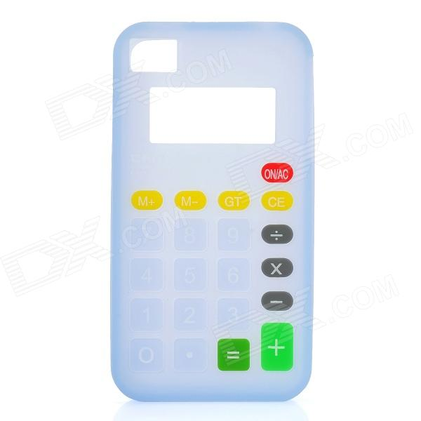3D Calculator Style Protective Silicone Back Case for Iphone 4 / 4S - Light Blue