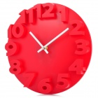 Creative 3D Number Style Round Wall Clock - Red (1 x AA)