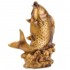 Chinese Style Resin Riches and Honour Carp Statue - Golden