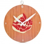 Creative Beef on Cutting Board Style Hanging Clock - Brown + Red (1 x AA)