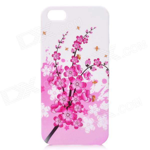 Plum Blossom Pattern Protective Silicone Case w/ Screen Protector for Iphone 5 - White + Pink protective plum blossom pattern back case for samsung galaxy s4 i9500 pink white