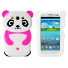Cute Panda Style Protective Silicone Back Cover Case for Samsung i9300 - Black + White
