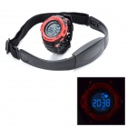 Digital Heart Rate Watch with Elastic Chest Belt - Black + Red