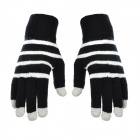 Horizontal Stripe Pattern Capacitive Screen Full Fingers Touch Gloves - Black + White (Free Size)