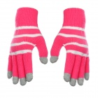 Horizontal Stripe Pattern Capacitive Screen Full Fingers Touch Gloves - Pink + White (Free Size)
