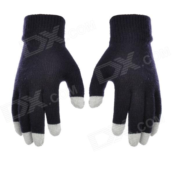 Fashion Capacitive Screen Full Fingers Touch Gloves - Black + Grey (Free Size)