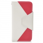 Envelope Style Protective Flip-Open PU Leather Case for Iphone 5 - Red + White