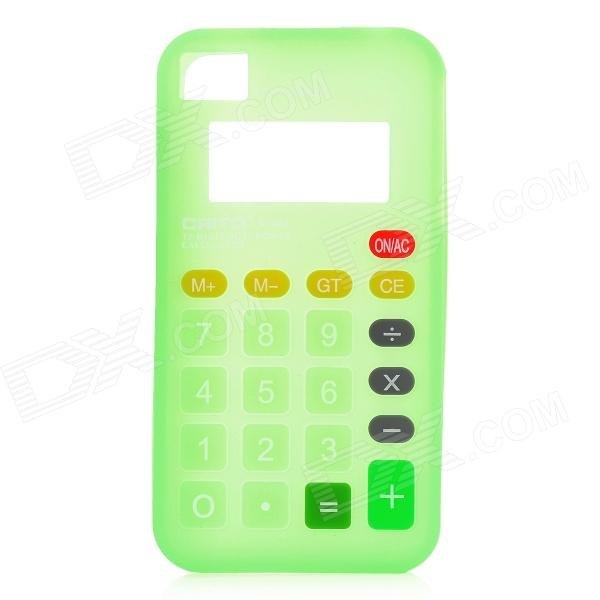 3D Calculator Style Protective Silicone Back Case for Iphone 4 / 4S - Green