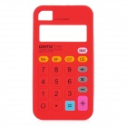 3D Calculator Style Protective Silicone Back Case for iPhone 4 / 4S - Red
