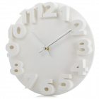 Creative 3D Number Style Round Wall Clock - White (1 x AA)