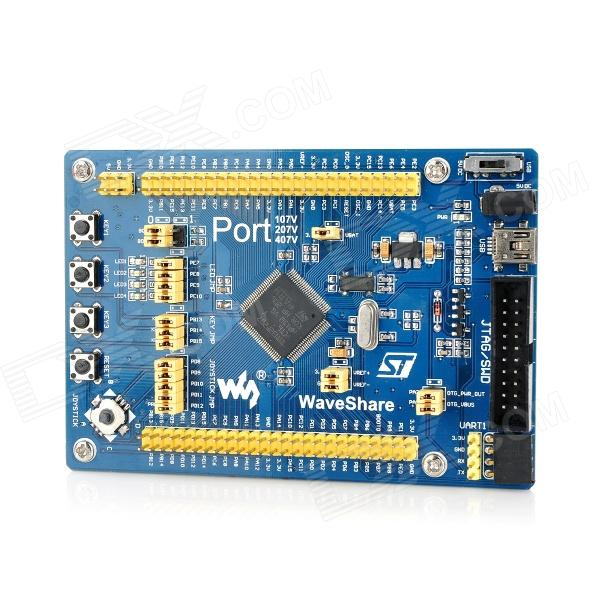 Port207V Cortex-M3 STM32F207VCT6 Development Board - Blue - DXBoards &amp; Shields<br>Model: Port207V - Quantity: 1 - Color: Blue - Material: Semi glass fiber board FR4 - Chipset: STM32F207VCT6 - Core: Cortex-M3 32-bit RISC - Working frequency: 120MHz 150 DMIPS/1.25 DMIPS/MHz - Operating Voltage: 1.8V-3.6V - Package: LQFP100 - Memories: 256KB Flash 128 + 4KB SRAM - Communication Interfaces: 3 x SPI 3 x USART 2 x UART 2 x I2S 3 x I2C; 1 x FSMC 1 x SDIO 2 x CAN; 1 x USB 2.0 FS/HS device/host/OTG with on-chip PHY; 1 x 10/100 Ethernet MAC; 1 x 8 to 12-bit parallel camera interface - AD &amp; DA converters: 3 x AD (12-bit 1s shares 24 channels); 2 x DA (12-bit) - Debugging/Programming: Supports JTAG/SWD (serial wire debug) interfaces supports IAP - MIC2075-2BM: USB / OTG power control devices - AMS1117-3.3: 3.3V voltage regulator - Power indicator LED - User LEDs: Convenient for indicating I/O status or program debugging running state - Reset button - User keys - Joystick: Five positions - 25M crystal oscillator - 32.768K crystal used for internal RTC also supports clock calibration - Great for DIY project - Packing list: - 1 x Port207V development board - 1 x USB power cable (94cm) - 1 x Mini USB to USB cable (92cm) - 2 x 4-Pin connection cables (18.5cm) - 2 x 2-Pin connection cables (19cm) - 1 x CD<br>