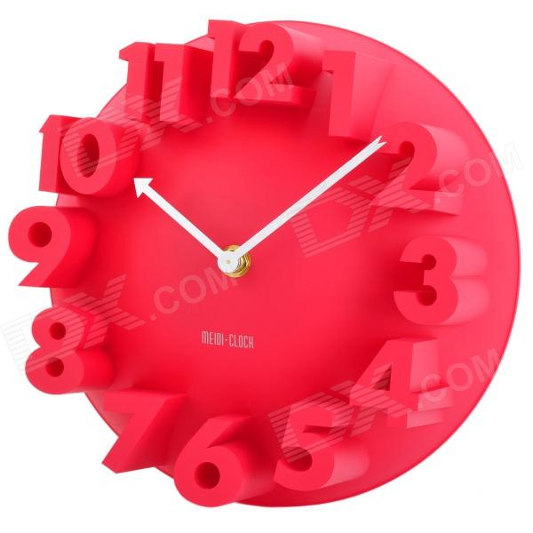 Creative 3D Number Style Wall Clock - Red (1 x AA) creative coffee time wall mounted clock blue 1 x aa