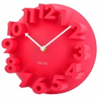 Creative 3D Number Style Wall Clock - Red (1 x AA)