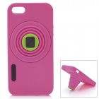 Retro Camera Style Protective Silicone Back Cover Case for Iphone 5 - Deep Pink