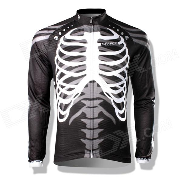 Spakct CSY397B Skeleton Style Bicycle Cycling Long Sleeves Jersey - Black + White (Size XXL) от DX.com INT