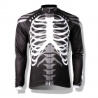 Spakct CSY397B Skeleton Style Bicycle Cycling Long Sleeves Jersey - Black + White (Size XXL)