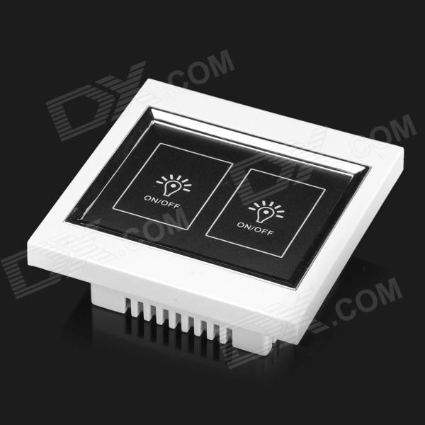 2-Gang Wall Mount Light Touch Screen Power Switch Plate Cover - White (AC 100~250V)