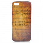 Music Score Pattern Protective Back Case w/ Glossy Screen Protector for iPhone 5 - Dark Yellow